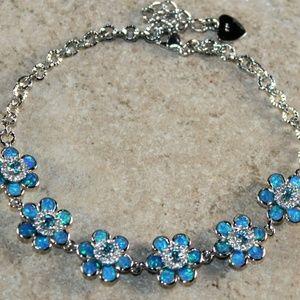 Jewelry - Blue Fire Opal Silver Flower Bracelet